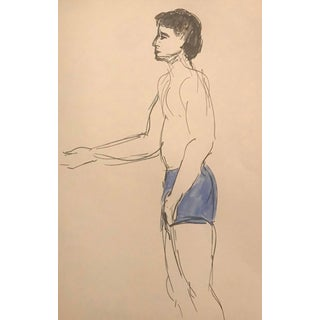 Portrait of a Male Bather by Inga-Britta Mills For Sale