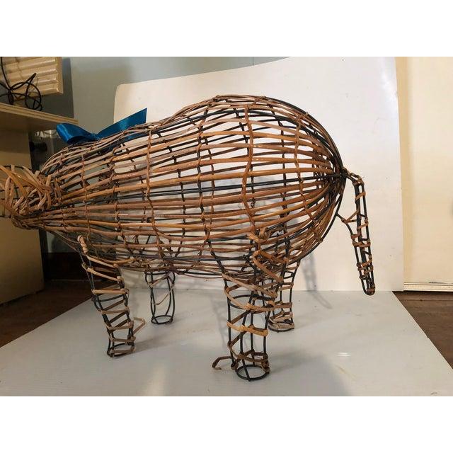 Vintage Wicker Decorative Pig Metal Art For Sale In Cleveland - Image 6 of 9