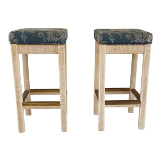 20th Century Americana Henry Link Wicker Bar Stools - a Pair For Sale