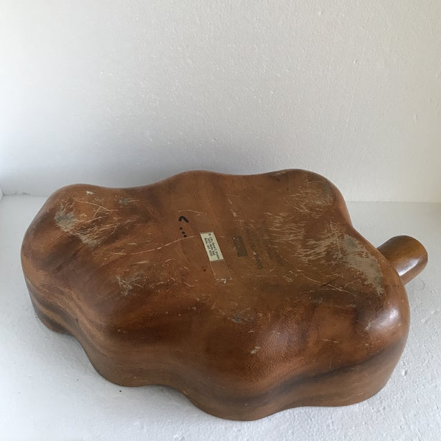 Vintage Large Hawaiian Wood Leaf Shaped Bowl For Sale - Image 9 of 13