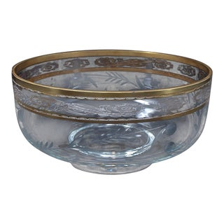 French Gold Trimmed Crystal Serving Bowl Attributed to St. Louis For Sale