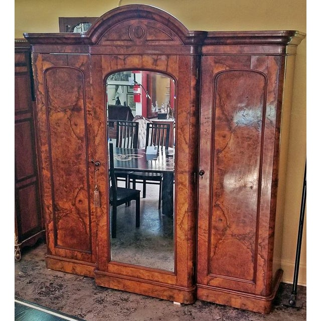19c British Burl Walnut Breakfront 3 Door Wardrobe With Chest of Drawers For Sale - Image 13 of 13