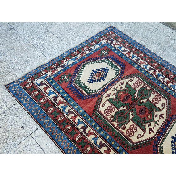 1970s 1970s Vintage Caucasian Pattern Turkish Rug - 5′1″ × 6′4″ For Sale - Image 5 of 6