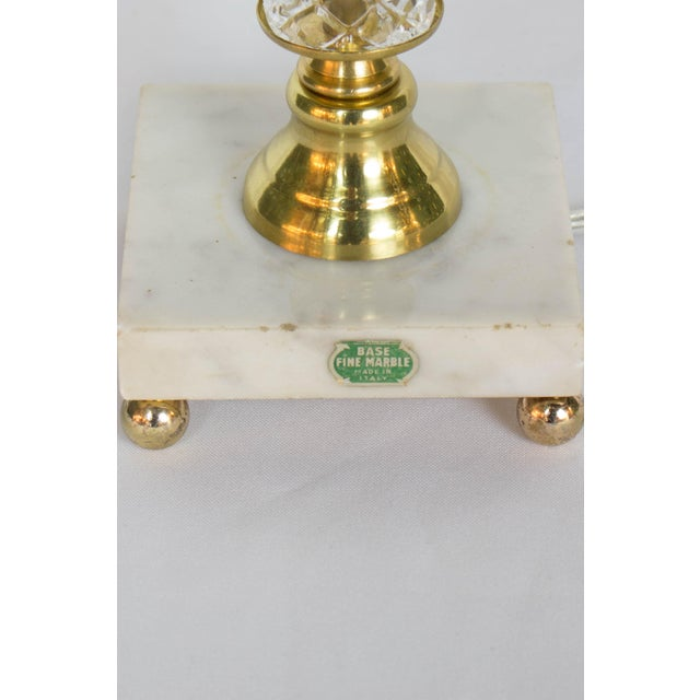 Glass Restored Vintage Glass Table Lamp With Marble Base For Sale - Image 7 of 9