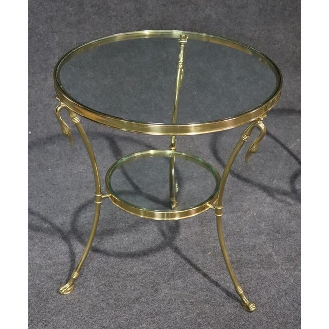 Mid 20th Century Regency Style Glass Top Brass Gueridons - a Pair For Sale - Image 5 of 11