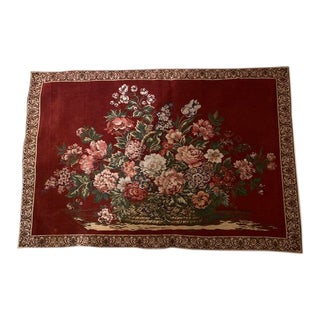 Vintage Basket Flowers Tapestry For Sale