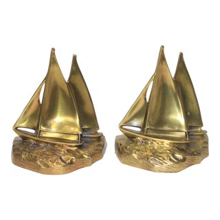 Vintage Sailboat Bookends in Brass - a Pair For Sale