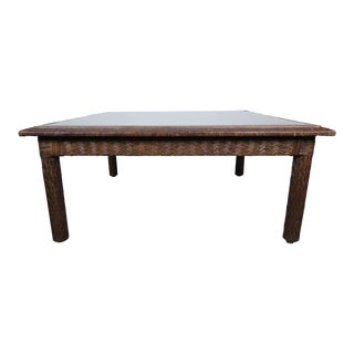Midcentury Leather Woven Coffee Table by Ent For Sale