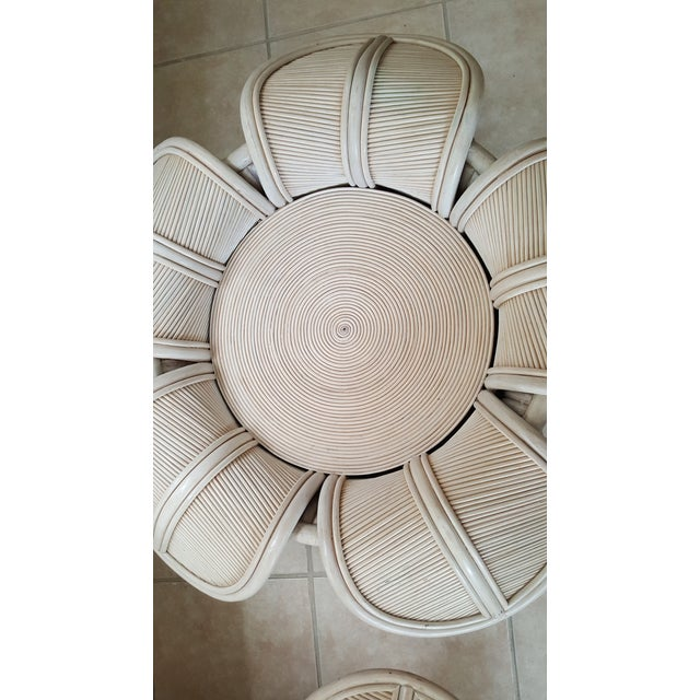 1970s Hollywood Regency Rattan Pencil Reed Bell Flower Coffee Tables - a Pair For Sale - Image 10 of 11