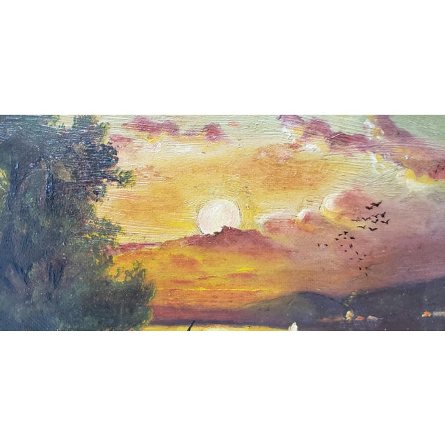 Impressionism 19th Century Luminous Sunset Over Mountain Lake Oil Painting For Sale - Image 3 of 10