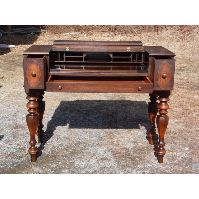 Empire Antique Walnut Empire Flip Top Writing Spinet Desk Sofa Table For Sale - Image 3 of 12