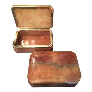 Italian Brass Trim Alabaster Boxes - a Pair