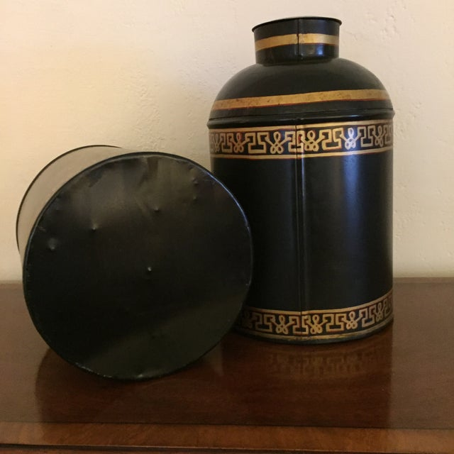 Black English Tole Tea Canisters - A Pair - Image 8 of 8