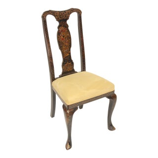 Queen Anne Style Chinoiserie Decorated Side Chair For Sale
