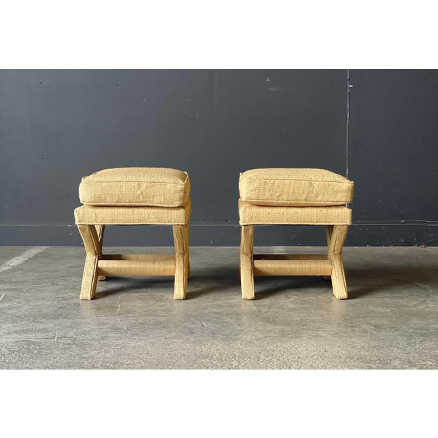 Custom Vintage Grass Cloth X Stools a Pair For Sale In New York - Image 6 of 8