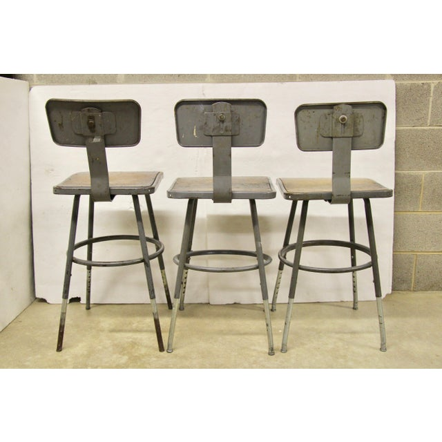 1940s Industrial Lab Stools, S/3 For Sale - Image 5 of 8