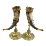 Image of Antique French 19th Century Pair Trophy Hunt Drinking Horns on Brass Stands For Sale