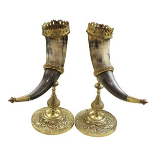 Antique French 19th Century Pair Trophy Hunt Drinking Horns on Brass Stands For Sale