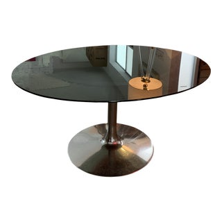 1960s Smokey Oval Glass Dining Table For Sale