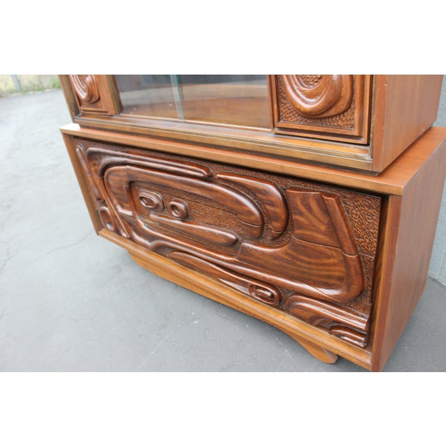 Brutalist 1960s Pulanski Oceanic Display Cabinet For Sale - Image 3 of 7