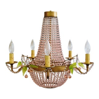Pink Rose Beaded Parisian-Style 5-Arm Chandelier W/Glass Cherry Drops For Sale
