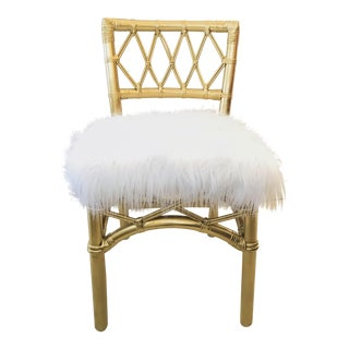 Vintage Chinese Chippendale Golden Bamboo Chair with Faux Fur Mongolian Sheep Skin