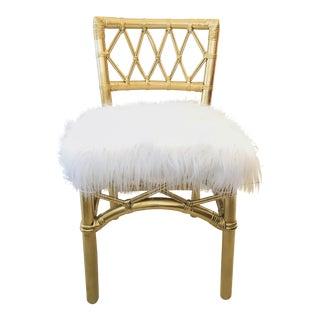 Vintage Palm Beach Gold Bamboo Chair White Mongolian Sheep Skin Faux Fur