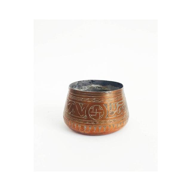 Vintage Etched Copper Cache Pot For Sale - Image 5 of 5