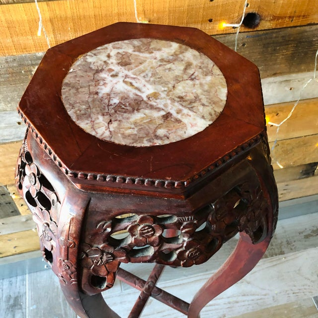 Wood Vintage Chinese Hand Carved Wood Marble Top Pedestal Table For Sale - Image 7 of 9