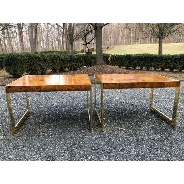 1970s Mid-Century Modern Olive Wood and Brass End Tables - a Pair For Sale - Image 13 of 13