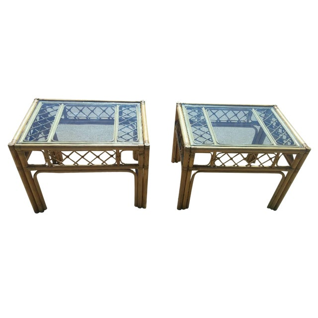 Mid Century Faux Bamboo Tables - Pair - Image 1 of 4