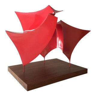 Contemporary Abstract Red Metal Tabletop Sculpture For Sale