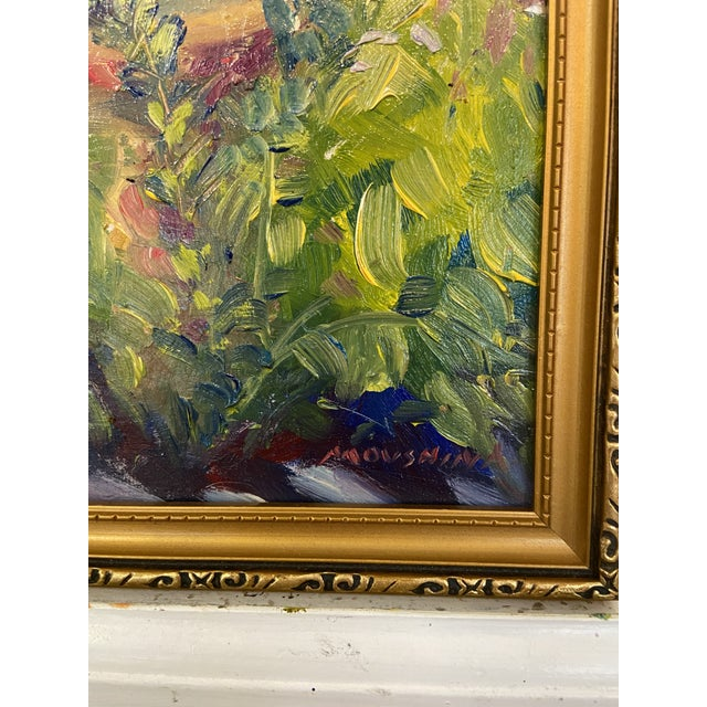 """English """"Garden Birdbath"""" Contemporary Impressionist Style Plein Air Oil Painting by Marina Movshina, Framed For Sale - Image 3 of 5"""