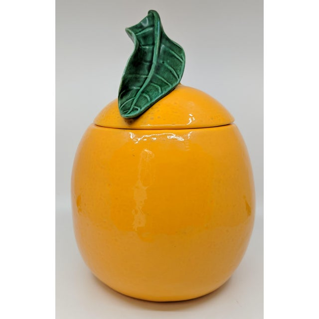 Vintage Ceramic Orange Fruit Cookie Jar For Sale - Image 4 of 11