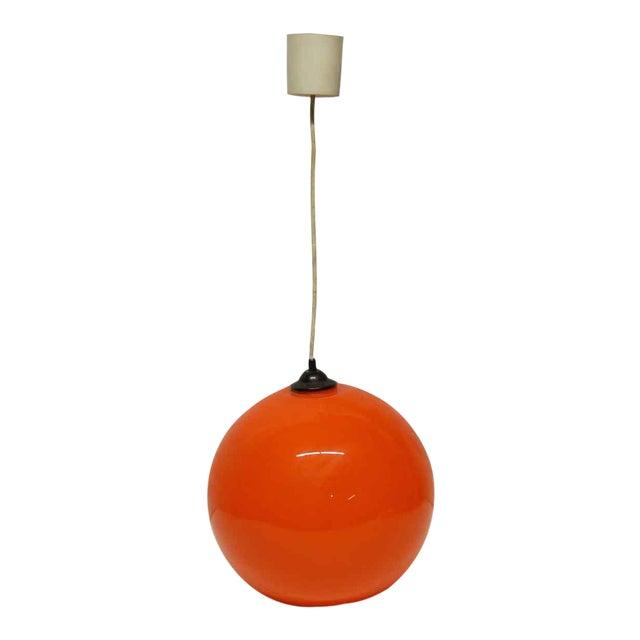 Modern Orange Opaline Glass Pendant Light For Sale