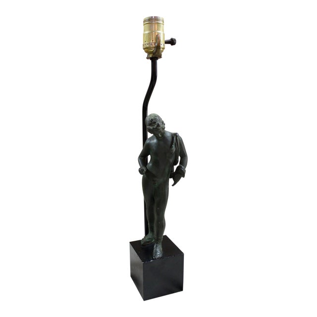 Neoclassical Narcissus Bronze Lamp For Sale