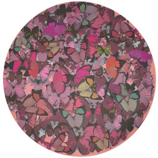 "Nicolette Mayer Mariposa Pink 16"" Round Pebble Placemats, Set of 4 For Sale"