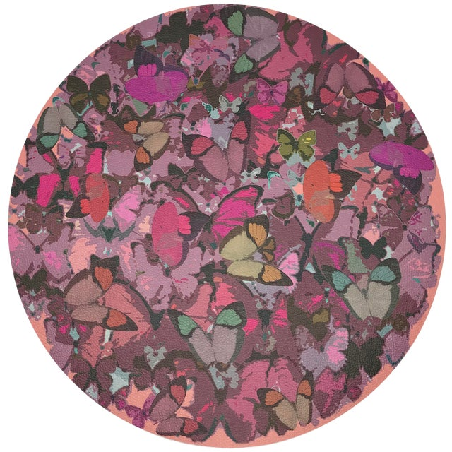 """Nicolette Mayer Mariposa Pink 16"""" Round Pebble Placemats, Set of 4 For Sale"""