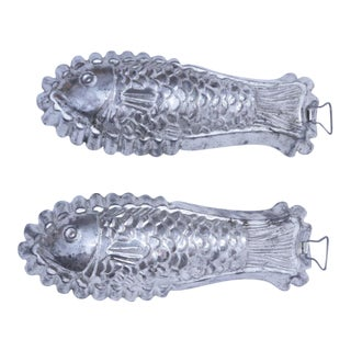 1960s Tinned Steel Fish Molds - a Pair For Sale
