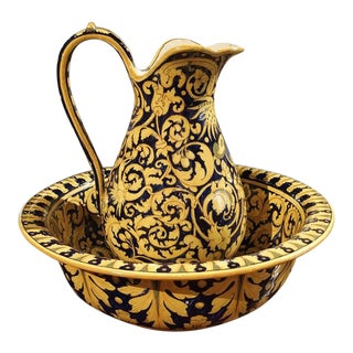Antique Nevers Pitcher and Bowl From France, Circa 1885 For Sale