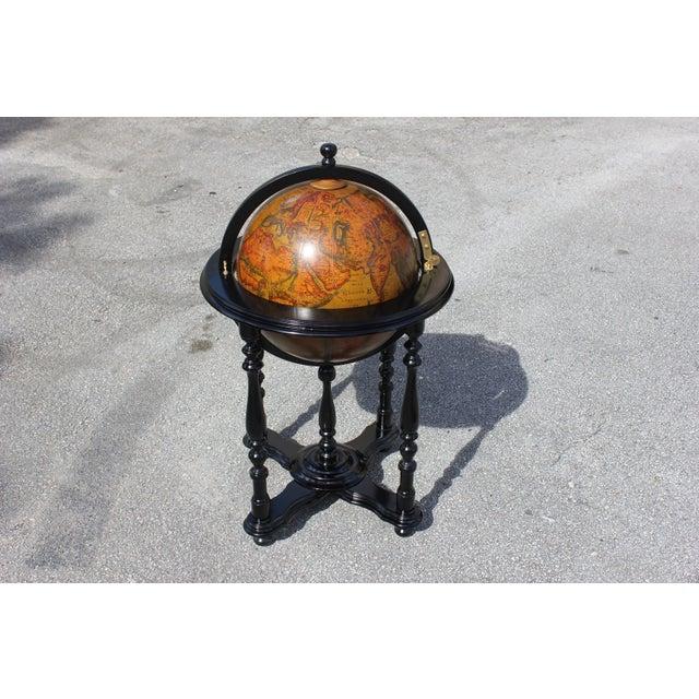 French Mid-Century Solid Mahogany World Globe Bar - Image 5 of 11