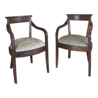 Pair Mid-Century Directoire Cherrywood Armchairs For Sale
