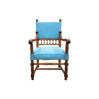 Antique Turquoise Upholstered Carved Oak Louis XIII Jacobean Style Throne Armchair For Sale