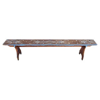 1930s Hand-Painted Farmhouse Pine Bench For Sale