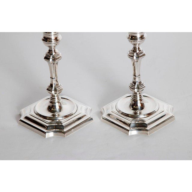 Pair of George II Style Sterling Silver Candlesticks by Cartier For Sale In Dallas - Image 6 of 13