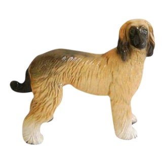 English 1960s Porcelain Afghan Hound Dog Figurine For Sale