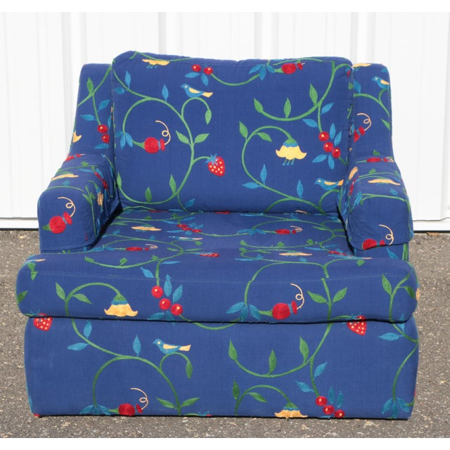 Farmhouse Crewel Stawberry & Vine Club Chairs - a Pair For Sale - Image 3 of 11