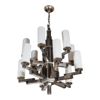 Art Deco Machine Age Skyscraper Style Chandelier in Antiqued Nickel For Sale
