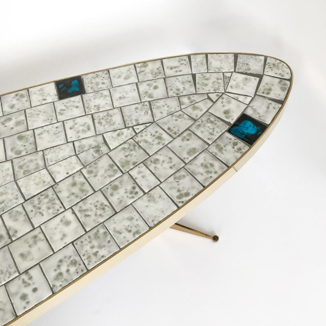 Italian Brass Tiled Top Surfboard Coffee Table For Sale - Image 9 of 13