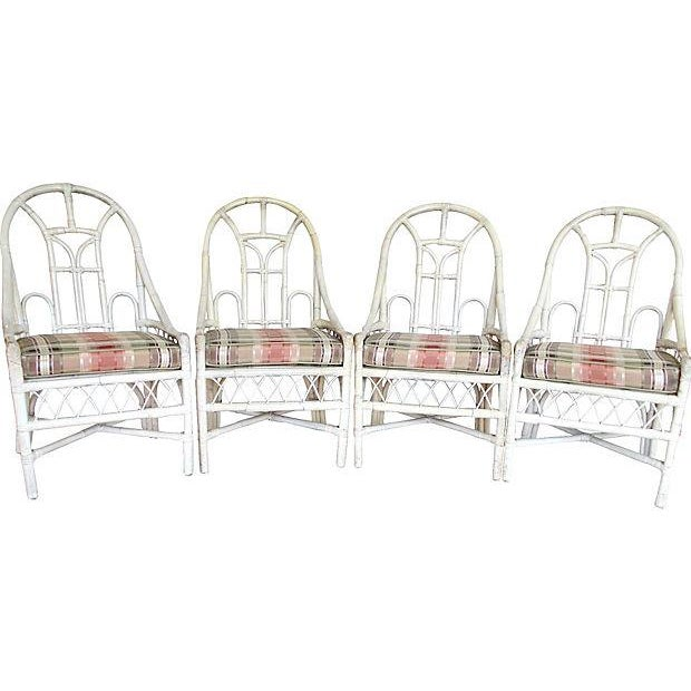 White Rattan Arch Back Chairs - Set of 4 - Image 5 of 5